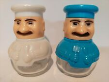 Plastic And Glass Chef Salt And Pepper Shaker Set