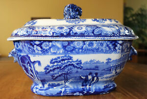 Antique Blue Transferware Staffordshire Tureen Philosopher Hamilton Lions Heads