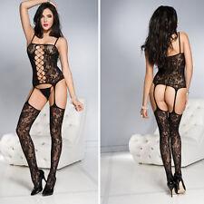 Black Lace Net Faux Garter Suspender Pantyhose Bodystocking Bodysuit Lingerie OS