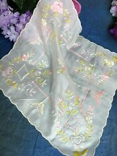 ANTIQUE Vintage VICTORIAN wedding SILK HANDKERCHIEF hand EMBROIDERY butterflies