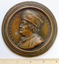 BENJAMIN FRANKLIN Antique NINI Bronze Finish MEDAL Cast Paperweight Medallion