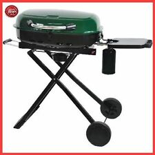 Portable GAS GRILL Cast Iron Porcelain-Coated Surface Foldable BBQ GRILL Green
