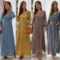Women Boho Floral Long Sleeve Long Dress Ladies Holiday Summer Beach Maxi Dress