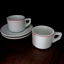 2 vtg ACF Italy Commercial grade Espresso Cups and saucers red stripe thick wall