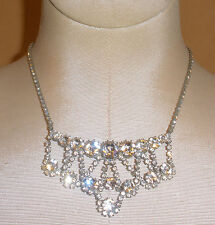 Beautiful Vintage Czech Rhinestone Evening Necklace in Clear Stones w/ Swags