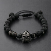 Men Black Spartan Helmet Beaded Natural Stone Charm Macrame Bracelets Adjustable