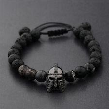 Men Black Spartan Helmet Beaded Natural Stone Charm Adjustable Macrame Bracelets