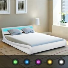 LED Double Bed Frame White 4ft6 Leather Remote Control Modern DESIGNER Bedroom
