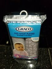 Graco Pack N Play Playard Quick Connect fitted sheet 2 Pack Myles/Silver New