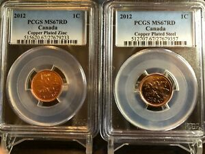 2012 CANADA CENT PCGS MS67 RD ZINC & STEEL TWO COIN SET LAST YEAR OF ISSUE RARE