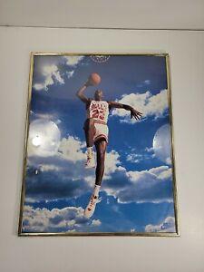 Michael Jordan 16x20 Framed Poster Chicago Bulls Nike Sky Air 1992 Cloud
