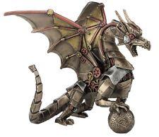 "8.75"" Steampunk Dragon Holding Sphere Home Decor Statue Figure"