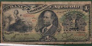 Ecuador P-s126a Bank Comercial Y AGRICOLA 1903 VF Rare