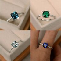 925 Silver Sapphire Gem Birthstone Diamond Wedding Engagement Ring Wholesale New