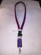 Paracord survival ID card Key chain whistle neck lanyard strap Red/Wht/Blu B4,C2