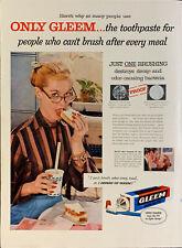 Vintage 1956 Gleem Toothpaste Woman Eating Sandwich Print Ad Advertisement