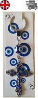 Lucky Turkish Blue Evil Eye Nazar Cross Key Ring Chain Gift Silver Metal Hanging