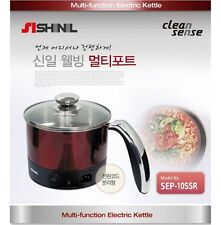SHINIL RED Stainless Steel Cordless Electric Pot Kettle Cooker Ramen Noodle 1.0L
