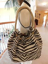 Michael Kors Tiger Print Marina Canvas Tote Shoulder Bag Brown/Cream