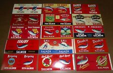 15 TIN CAN LABELS VINTAGE SALMON VANCOUVER CANADA PORTLAND SEATTLE MINT 1940-70