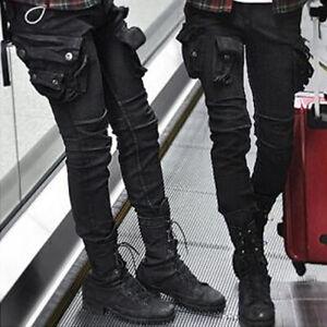 NewStylish Mens Fashion Wax Coated Oil Cargo Skinny Jeans
