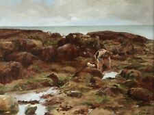 19th CENTURY FRENCH OIL ON PANEL - CHILDREN ON ROCKS YPORT - INDISTINCTLY SIGNED
