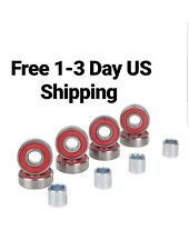 8-Pack Abec-9 Skateboard Bearings with Spacers, longboard scooter roller inline