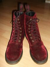Dr Martens DMs Cherry RED Maroon WIne Burgundy VELVET 8 hole lace-up BOOTS 8 UK