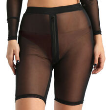 Women Transparent Hot Pants Shorts Leggings Silky Sheer Mesh Sexy Clubwear
