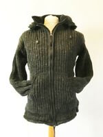 Fairtrade Wool Jacket Hoodie Coat Cardigan Fair Isle Hippy Festival Dark Grey XL