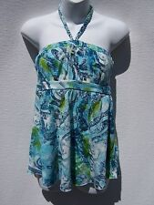 Self Esteem Women's Teal Blue Green Strapless Paisley Halter Top Sz Medium NWOT