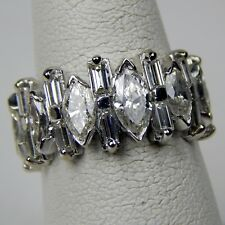 Baguette & Marquise Diamond Eternity  Band Ring 14 kt Gold Size 6 1/4 #A3320