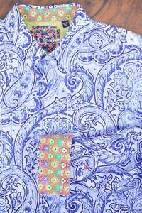 Robert Graham LS Button Front Shirt Blue/Purple Paisley Men's 2XL XXL