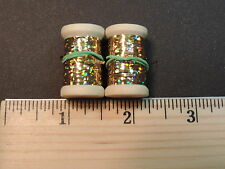 2 New Spools of Flat Gold Holographic Tinsel or Flash, 20 yards