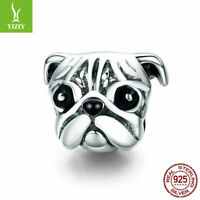 European Women Authentic 925 Sterling Silver PUG Charm Bead Pendant Fit Chain