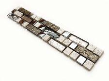 Glasbordüren 30x4,5cm Fliesen Bordüren Bad Bordüre Mosaikbordüre SK303 T2 silber