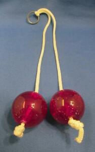 Retro Purple With Glitter Clackers Lucite Ball Toy