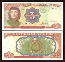 CHE GUEVARA COLOURED 3 PESOS MINT CONDITION BANK NOTE