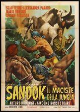 Original TEMPLE OF THE WHITE ELEPHANT Italian 39x55 SEAN FLYNN Sandok il Maciste