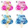 "15pcs 12"" Foil Latex Confetti Colorful Balloon Baby Kids Birthday Party Decor"