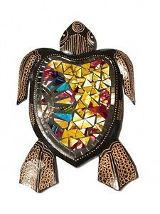 Turtle Mosaic Wood Carving Wall Garden Hanging Statue Yellow By Zenda Imports