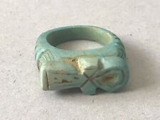 Ancient Egyptian glazed faience ring with key of life