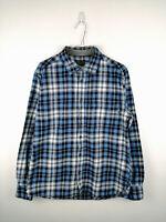 Vintage Mens Flannel Shirt Eddie Bauer Size M Blue Check 100% Cotton Button Up