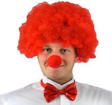 Set of RED AFRO WIG + SEQUIN BOW TIE + RED NOSE FANCY DRESS Comic CLOWN Funny