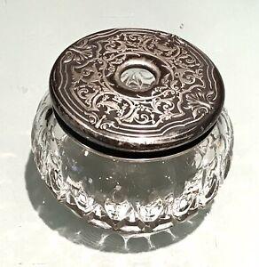 Vintage Antique Silver Plate Crystal Cut Glass Trinket Box Vase Jar Old