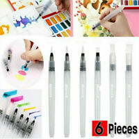 6Pcs/Set Water Color Brush Refillable Pen Watercolor Color Drawing Art Supply F6