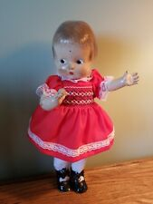 "Vintage Antique Doll Composition Blue Eyes Unmarked Patsy Type 13"" Doll"