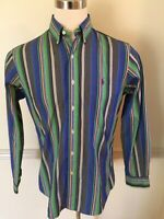Golf Polo Ralph Lauren Medium Custom Stripe Men's L/S Long Sl. Shirt Blue Green