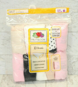 10-Pack Fruit of the Loom Girls' Cotton Briefs Size 6 - Soft Durable Fabric