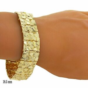 "Men's Solid 10k Yellow Gold Nugget Bracelet Adjustable 8"" 18.5mm 43.8 grams"
